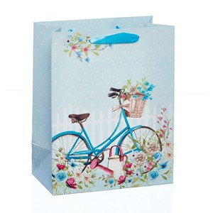 """Blue Bicycle - Glitter"" Gavepose medium"
