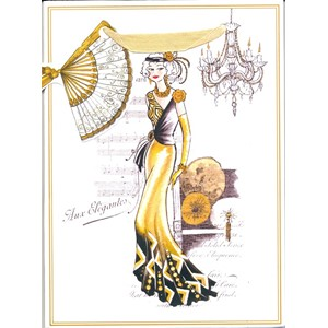 """1920's Art Deco Ladies"" Gavepose small, 3 assortert"
