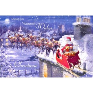 """Santa and Sleigh"", 10 Luxury Christmas Card"