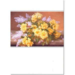 """Still Life of Yellow Roses with Lilac"""