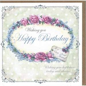 """Wishing You Happy Birthday - Rose and Tag"""