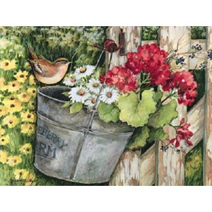 """Birdhouse & Fence"" Assorted Boxed Note Cards 12/12"