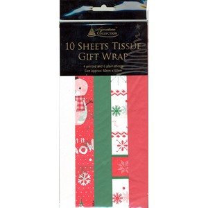 """10 Sheets Tissue Gift Wrap"", 4 printed & 6"