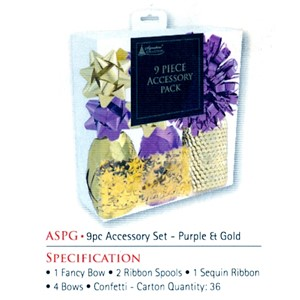 """9 Piece Accessory Pack, Purple & Gold"", Bånd"