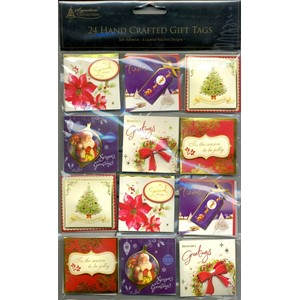 """Traditional  Xmas, 24 Handcrafted Gift Tags"""
