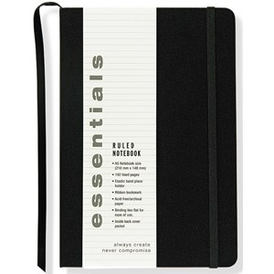 """Essentials"" Large Black Ruled Notebook (A5)"