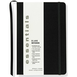 """Essentials"" Large Black Blank Notebook (A5)"