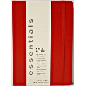 """Essentials"" Large Red Ruled Notebook (A5)"