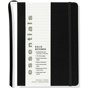 """Essentials"" Small Black Ruled Notebook (A6)"