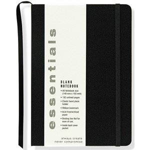"""Essentials"" Small Black Blank Notebook (A6)"