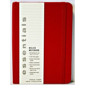 """Essentials"" Small Red Ruled Notebook (A6)"