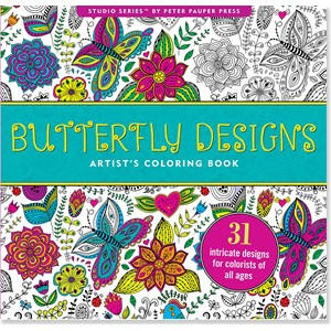 """Butterfly Designs"" Artist's Coloring Book"