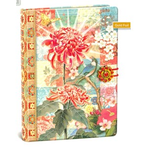 """Red Flower"" Button Journal"
