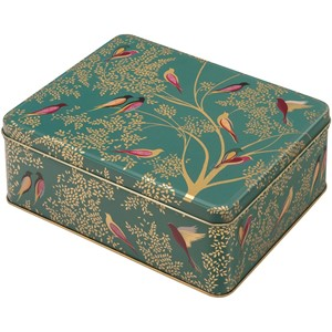 """Sara Miller - Green Birds"" Deep Rectangular Tin"