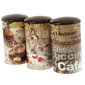 """Coffee Time"" rund metall-boks, 3 assortert"