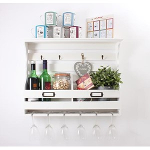 Storage Unit With Wine Glass Storage White