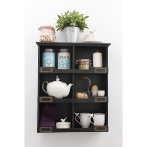 Six Pigeon Hole Storage Unit Black