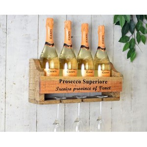 """4 Bottle Prosecco Wall Wine Rack"" Tre-hylle"