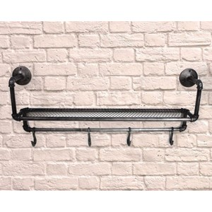 """Industrial Water Pipe Shelf and Hooks"" Hatte-hylle"