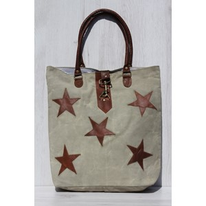 "Shopper ""Khaki with Leather Stars"""