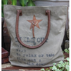 """Chill Out"", Khaki with Leather Star & Key,"